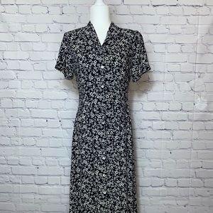 Vintage | Long Floral | Button Down Dress | Size M